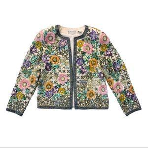 Vintage Oleg Cassini Floral Beaded Jacket